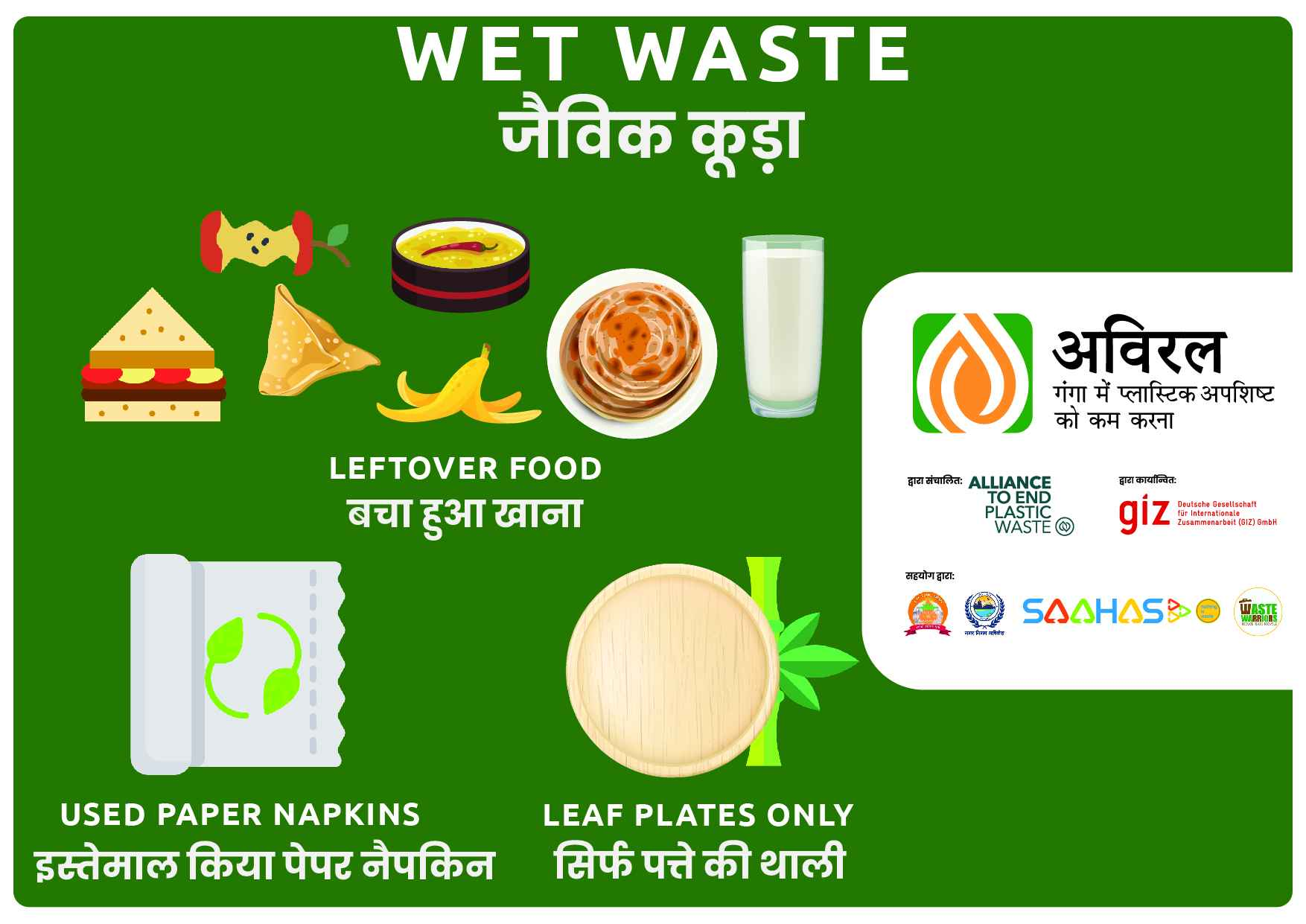 Bin Posters for Events-Wet Waste